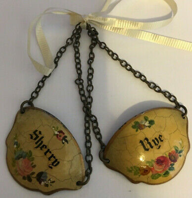 Pair Vintage French Tole Bottle Necklaces Tags Decanter Liquor Enamel Copper