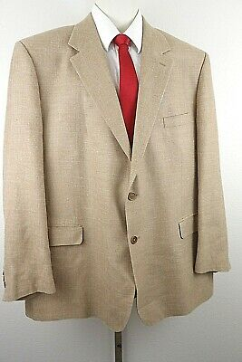 Brooks Brothers Mens 2 Button Sport Coat Blazer Brown Silk Blend Italy Size 48R