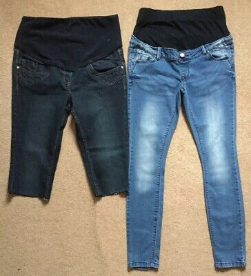 2 PAIRS OF GEORGE & NEWLOOK  Maternity Jeans & Denim Cut Off Shorts BLUE Sz 12.