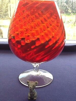Vintage Retro Large Red Brandy Glass With Mouse 1960'S / 70'S