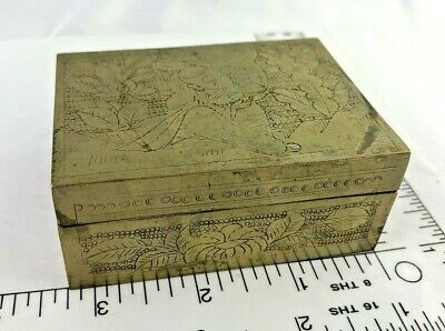 Antique Chinese Solid Brass Carved , Wood Lined Humidor ,Trinket