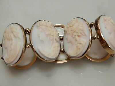 A Superb Antique Gold Art Deco Large Oval Carved Lady Cameo Bracelet
