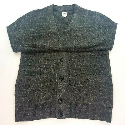 Gap Budding Texture Cardigan Dark Gray Button Up Cotton Blend Mens Size Small