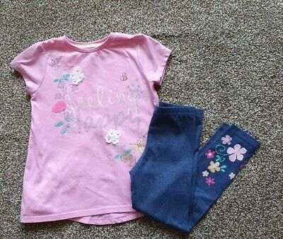 Girls Christmas Embroidered Top & Leggings Set UK 4-5 Years Tesco F&F