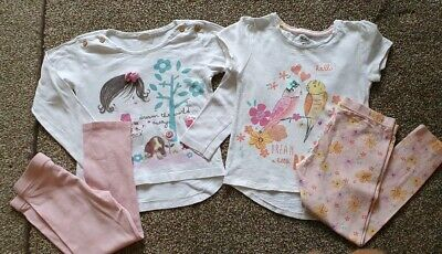 Girls Light Pink Tops & Leggings 2 Outfits UK 4-5 Years George Tesco Christmas