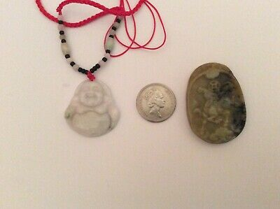 Carved Jade Vintage Buddha On Beaded Necklace And Soapstone Pendant
