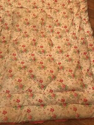 Vintage antique Floral feather quilted Eiderdown Reversible Double Size