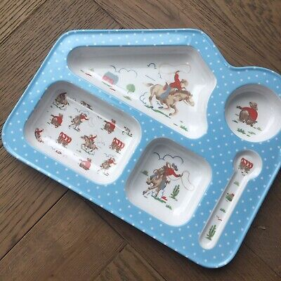 Cath Kidston Cowboy Plate Melamine And Spoon. Fantastic Condition.