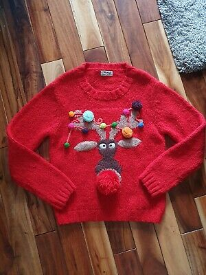 girls size 9yrs red knitted christmas jumper by next