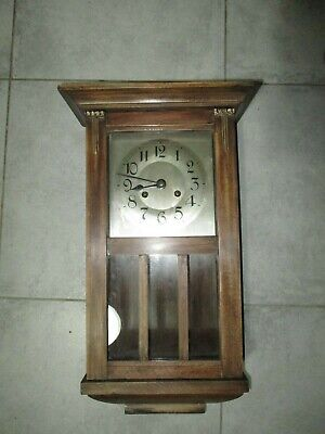 Small Antique German Arts & Crafts 8 Day Gong Striking Wall Clock P.W.O.
