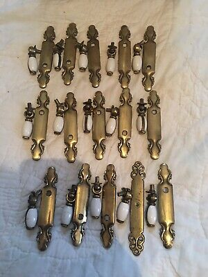 Vintage Brass And Porcelain Drop Pulls          Lot Of 15
