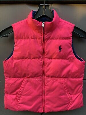 Polo Ralph Lauren Girls Reversible Puffer Vest Pink/Blue Girls Size Large (L)