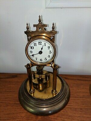 antique 400 day anniversary clock glass dome made in Germany before WW2