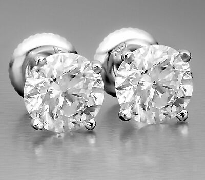 1.90 Ct Certified DSI2 Round Cut Natural Diamond Stud Earrings 14K White Gold