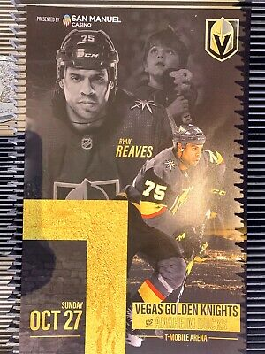Vegas Golden Knights Poster Program 10/27/19 Ryan Reaves Goal vs Ducks NHL