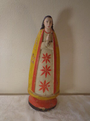 Original Philippine Religious  Prayer Statue Folk Art Hand Painted Sacred Mary
