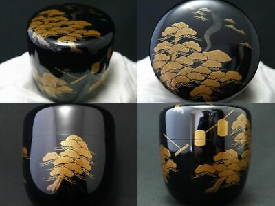 Japanese Traditional Lacquer Wooden Tea caddy SHIOGAMA makie Natsume (1105)