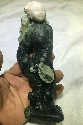 """7"""" Antique Chinese Du shan Jade Hand-carved Beautiful Woman Beauty Belle Statue"""