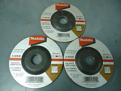 """Makita 4 1/2"""" x 1/4"""" x 7/8"""" Angle Grinding Wheels for Stainless (QTY 3) A-80640"""