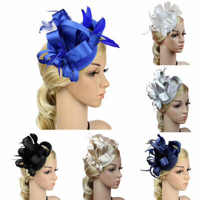 Women Fascinator Hair Clip Feather Floral Millinery Wedding Satin Cloth Hat