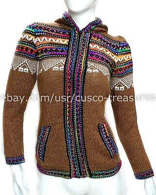 Grey with Rainbow Colors Gamboa Confortable and Warm Alpaca Hooded Cardigan