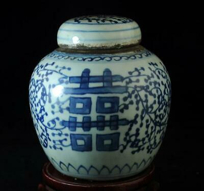 "china old collection blue and white porcelain hand-painted""囍"" teapot c01"