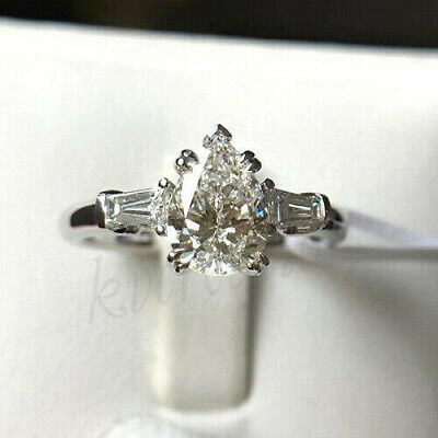Pear Near White 1.57 Ct Brilliant Moissanite 925 Sterling Silver Engagement Ring