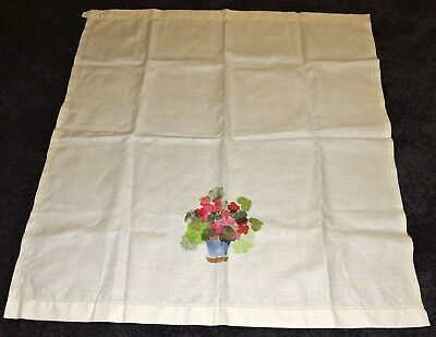 """Tablecloth Ecru Partly Hand Painted Pure Linen To Embroider Pot Pink Flowers 44"""""""
