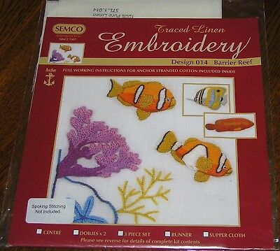 Pure Linen TableCloth Traced Stamped Printed Crewel Embroidery Barrier Reef Fish