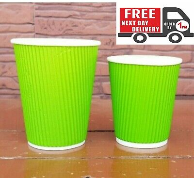 50 X 12oz Disposable Green Paper Cups Kraft Cups For Coffee Tea Hot And Cold