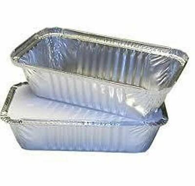 100 x ALUMINIUM FOIL FOOD CONTAINERS No6A + LIDS PERFECT FOR HOME AND TAKEAWAY