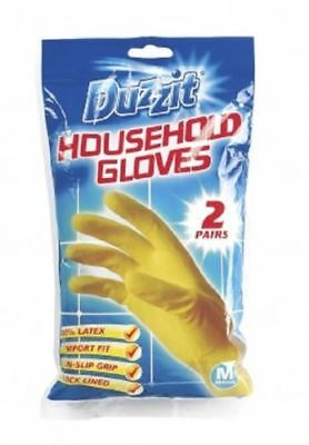 2 Pairs Yellow Gloves Household Rubber Gloves Latex Kitchen Dish Cleaning Gloves