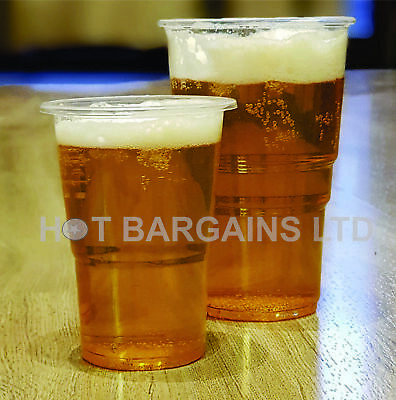 1000 Clear Strong Plastic Pint / Half Pint Disposable Beer Glasses Cups Tumblers