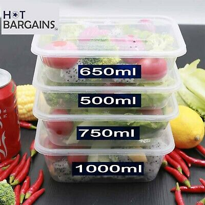 250 Takeaway Food Containers Plastic Microwave Freezer Safe Storage Boxes + LIDS