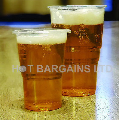 1000 X Clear Plastic Pint / Half Pint Disposable Beer Glasses Cups Tumblers UK