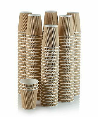 500 X 8oz Kraft Triple Walled Disposable Coffee Cups Paper Cups