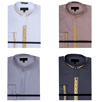 Men/'s Collarless Banded Collar Dress Shirt with Cross Embroidery