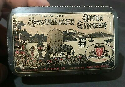 Vintage Antique Advertising Country Store Tin Crystalized Canton Ginger