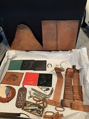 Large Lot Leather Working Tools and Accessories  Stamps Indian Head Horse Lion