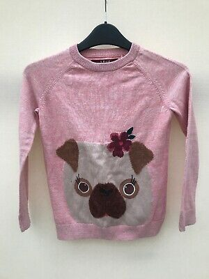 Girls TU Pink Jumper With Pug Dog Face On Front Age 9Yrs