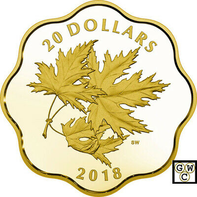 2018 'Iconic Maple Leaves' Gold-Plated Prf $20 Fine Silver Coin(18610)