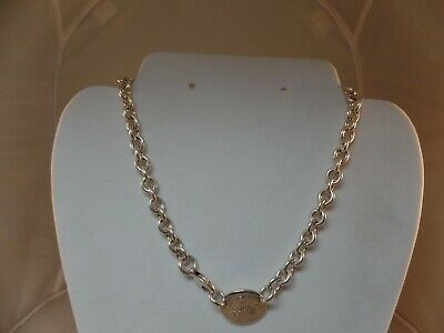 """Please Return To Tiffany & Co.925 Oval Tag Choker Chain Link Necklace 15"""" # 1766"""