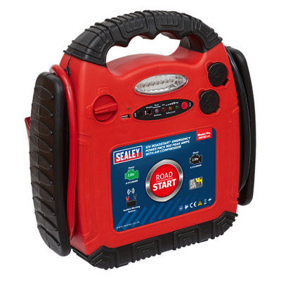 Sealey RS132 RoadStart Emergency Power Pack with Air Compressor 12V 900 Amps (A)