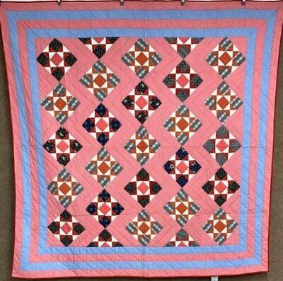 4 Borders! c 1890-1900 PA Touching Stars ANTIQUE Quilt Indigo Red