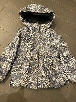 Girls Gap Blue Floral Like Down Winter Hooded Lovely Warm Coat Age 6-7 Puffa