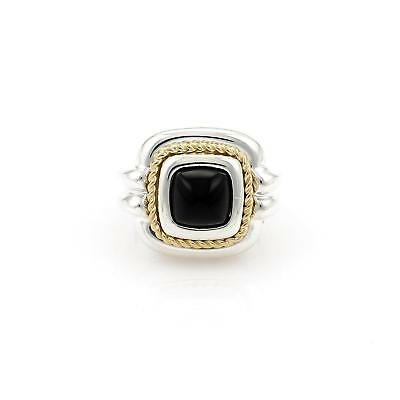 Tiffany & Co. Onyx Sterling 18k Yellow Gold Fancy Square Top Ring Size 6.5