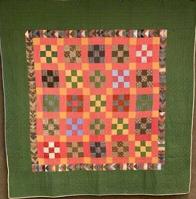 """Antique PA c 1880-1900 Nine Patch   """"Wild Goose Chase"""" QUILT Browns"""