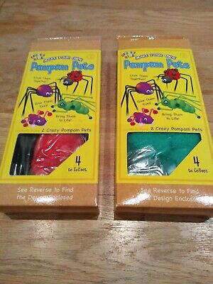 2 Make Your Own Pompom Pets Ladybird and Grasshopper BNIB Ideal Stocking Filler