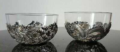 A Pair of Chinese Export Silver Glass Bowl Holders - Wang Hing, Hong Kong, C1890