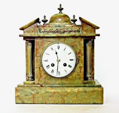 Lge Antique French Marble Striking Mantel Clock, Architectural, Works Well 12.5""